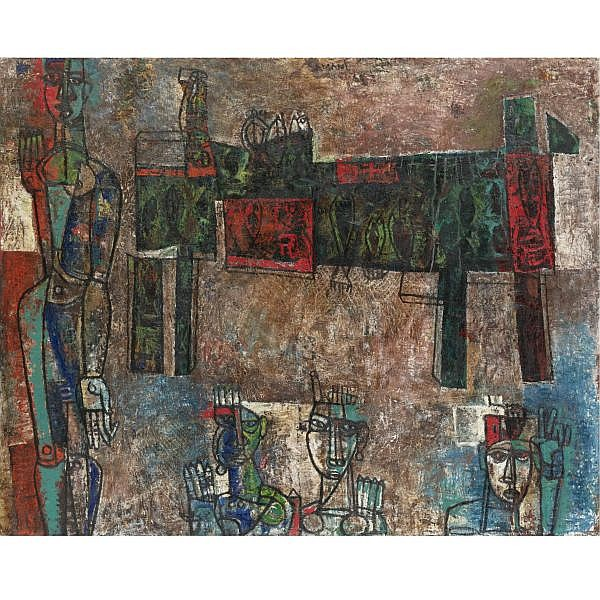 Mohan Samant (1926-2004) , Fishmarket Mixed media on canvas