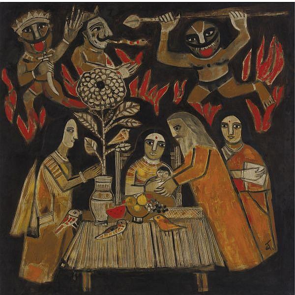 Badri Narayan (b. 1929) , Untitled Oil on canvas