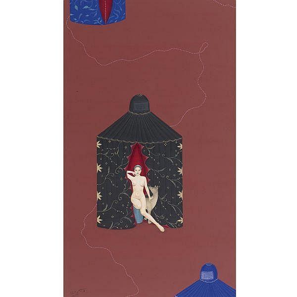 Waseem Ahmed (b. 1976) , Untitled Gouache and silver leaf on wasli