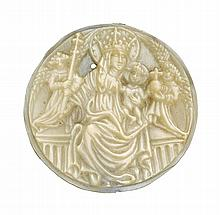 GERMAN, UPPER RHINE, SECOND HALF 15TH CENTURY | Roundel with the Virgin and Child flanked by Angels