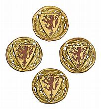 FRENCH, LIMOGES, THIRD QUARTER 13TH CENTURY | Four Heraldic Roundels with Rampant Lions
