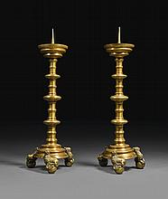 GERMAN OR SOUTHERN NETHERLANDISH, PROBABLY NUREMBERG OR DINANT, 16TH CENTURY | Pair of Pricket Candlesticks on Lion Feet