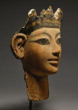 AN EGYPTIAN POLYCHROME WOOD MUMMY MASK, 18TH DYNASTY, REIGN OF AMENHOTEP II/AMENHOTEP III, 1426-1353 B.C. | An Egyptian Polychrome Wood Mummy Mask
