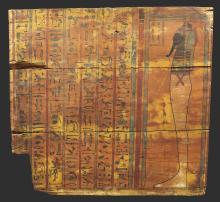 AN EGYPTIAN POLYCHROME WOOD SARCOPHAGUS PANEL, 25TH DYNASTY, 750-656 B.C. | An Egyptian Polychrome Wood Sarcophagus Panel
