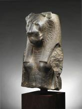AN EGYPTIAN GRANITE BUST FROM AN ENTHRONED FIGURE OF THE GODDESS SEKHMET, 18TH DYNASTY, REIGN OF AMENHOTEP III, 1403-1365 B.C.   An Egyptian Granite Bust from an Enthroned Figure of the Goddess Sekhmet