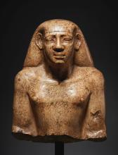 AN EGYPTIAN INDURATED LIMESTONE BUST OF A MAN, LATE 25TH/EARLY 26TH DYNASTY, CIRCA 670-650 B.C.   An Egyptian Indurated Limestone Bust of a Man