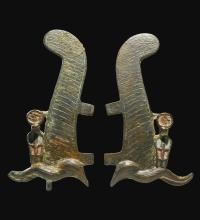TWO EGYPTIAN BRONZE OSTRICH PLUMES, LATE PERIOD, 716-30 B.C.   Two Egyptian Bronze Ostrich Plumes