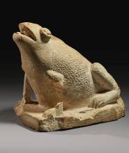AN EGYPTIAN LIMESTONE FIGURE OF A FROG, ROMAN/EARLY COPTIC PERIOD, CIRCA 2ND/6TH CENTURY A.D.   An Egyptian Limestone Figure of a Frog