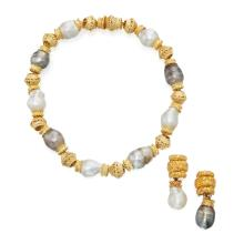 GOLD AND CULTURED PEARL NECKLACE AND PAIR OF PENDANT-EARCLIPS, DAVID WEBB
