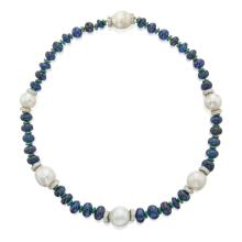 SAPPHIRE, CULTURED PEARL, DIAMOND AND ENAMEL NECKLACE, DAVID WEBB