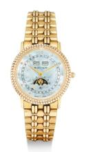 BLANCPAIN, LADY'S YELLOW GOLD AND DIAMOND-SET TRIPLE CALENDAR WRISTWATCH WITH MOON-PHASES, MOTHER-OF-PEARL DIAL AND BRACELET,  VILLERET |
