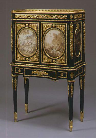 A FINE AND RARE LOUIS XVI ORMOLU-MOUNTED EBONIZED AND JAPANESE LACQUER SECRETAIRE EN CABINET