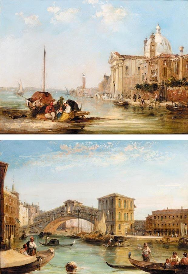 EDWARD PRITCHETT FL.1828-1864 CHIESA GESUATI (CANAL DELLA GUIDECCA); PONTO DI RIALTO (CANAL