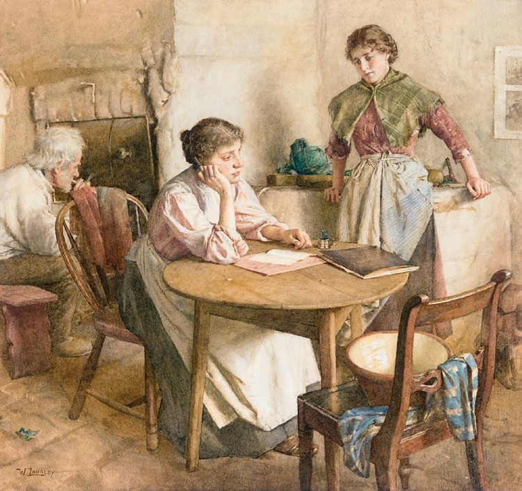 WALTER LANGLEY, R.I. 1852-1922 THOUGHTS FAR AWAY