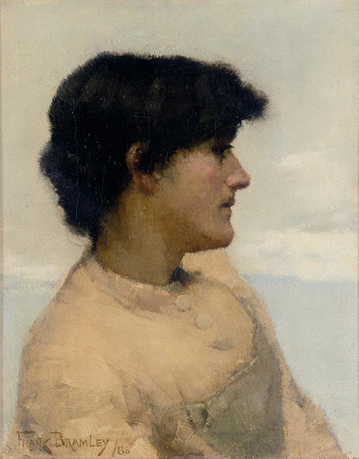 FRANK BRAMLEY, R.A. 1857-1915 STUDY OF A FISHERGIRL, NEWLYN