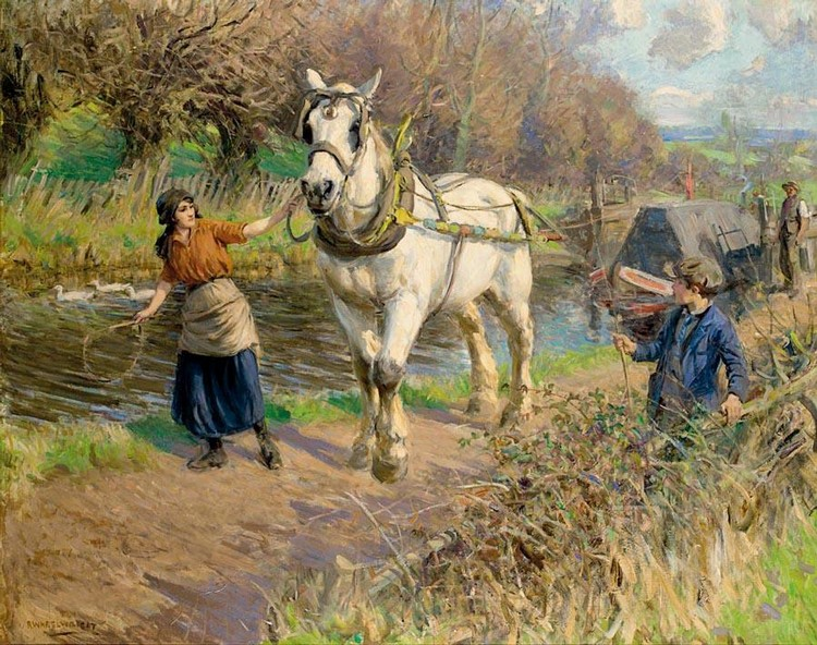 ROWLAND WHEELWRIGHT, R.B.A. 1870-1955 ON THE TOWING PATH