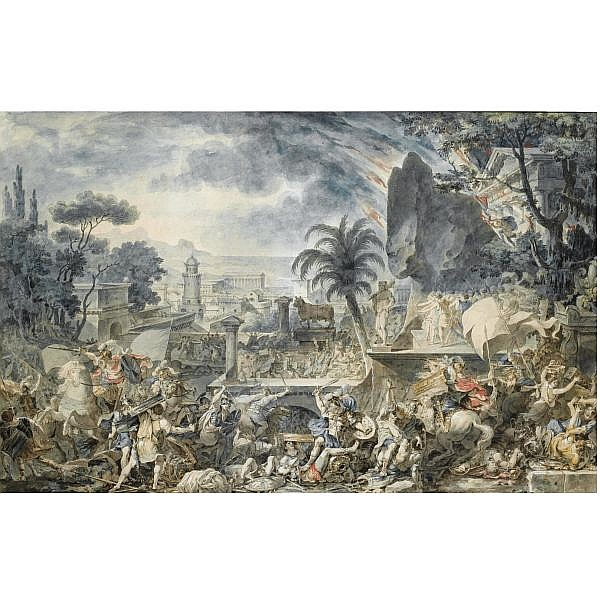 Louis-Jean Desprez Auxerre 1743 - Stockholm 1804 , hamilcar attacking the city of agrigentum pen and grey ink and watercolour, heightened with white, over traces of black chalk