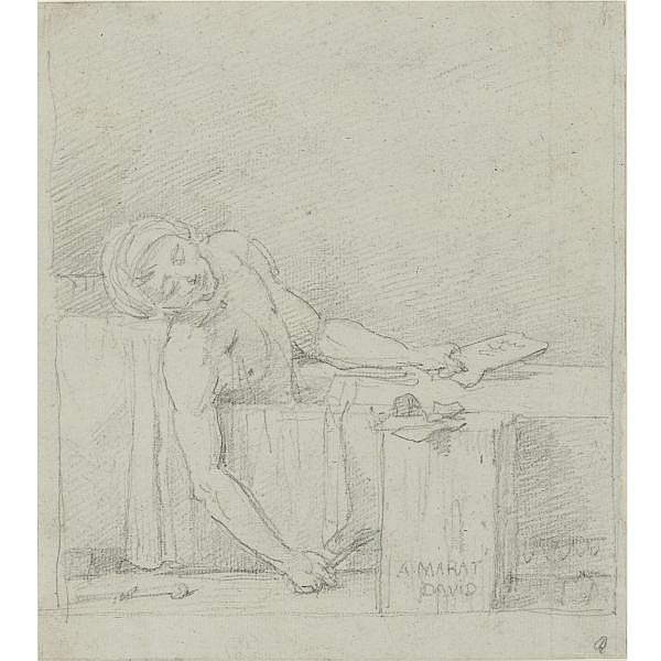 Jacques-Louis David Paris 1748 - 1825 Brussels , the death of marat graphite