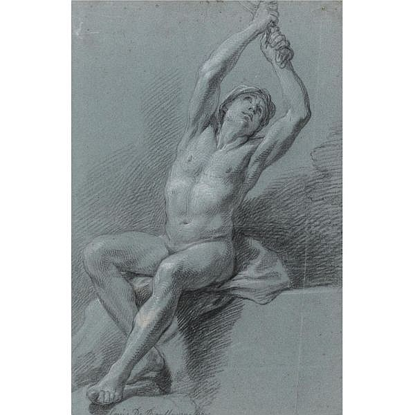 Louis de Boullogne Paris 1654 - 1733 , a seated male nude, arms raised, pulling on a cloth black and white chalk on blue paper