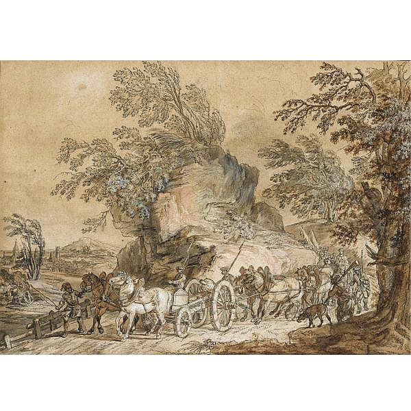 Jean-Baptiste Le Paon Paris 1736/38 - 1785 , french soldiers on the march, a cannon carriage in the foreground pen and black ink and grey and brown wash, heightened with white and pink gouache, over black chalk