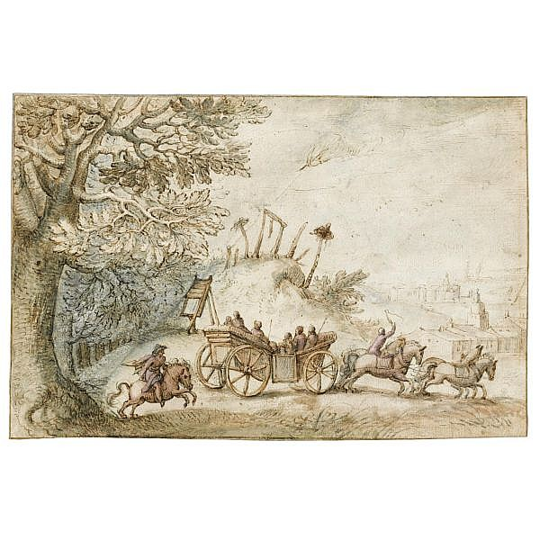 Matthäus Merian the Elder Basle 1593 - 1650 Bad Schwalbach , Landscape with a coach and four driving from woods past a gibbet, towards a town pen and brown ink and brown and blue wash, with touches of bodycolour, over traces of black chalk; on two