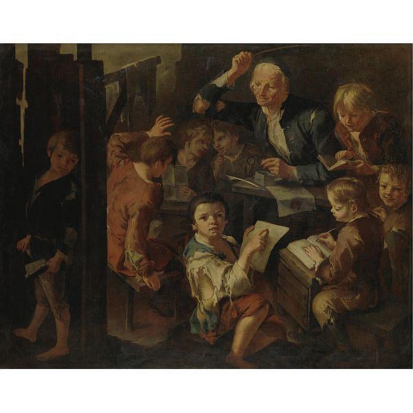 Giacomo Francesco Cipper, detto Todeschini Feldrich 1664-Milano 1736 , Il maestro di scuola olio su tela