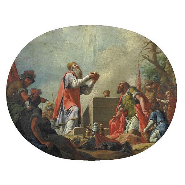 Vincenzo Angelo Orelli Locarno 1751-1813 Bergamo , Sacrificio di Melchisedec olio su tela, in un ovale dipinto