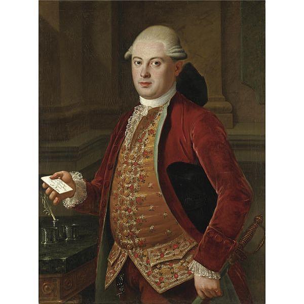 Pietro Labruzzi Roma 1739-1805 , Ritratto di gentiluomo con giacca rossa e panciotto ricamato olio su prima tela