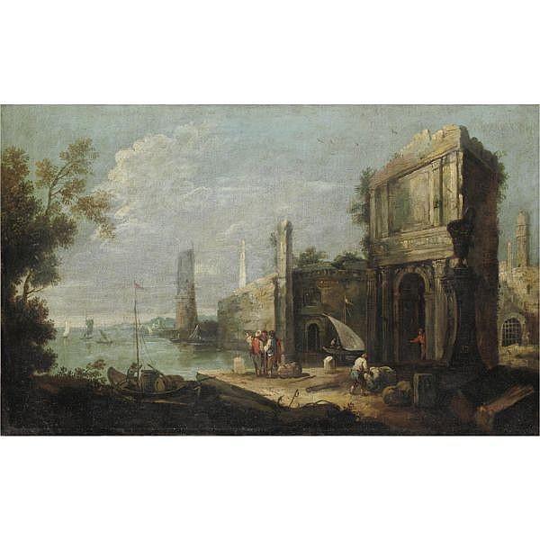 Attribuito a Bartolomeo Pedon Venezia 1665-1732 , Marina con capriccio architettonico, figure e imbarcazioni olio su tela