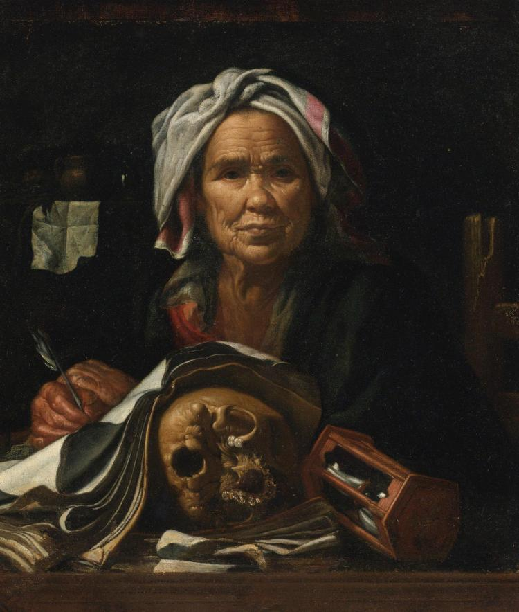 PIETRO BELLOTTI | An old philosopher at her desk, with a <em>vanitas</em> skull and an hourglass