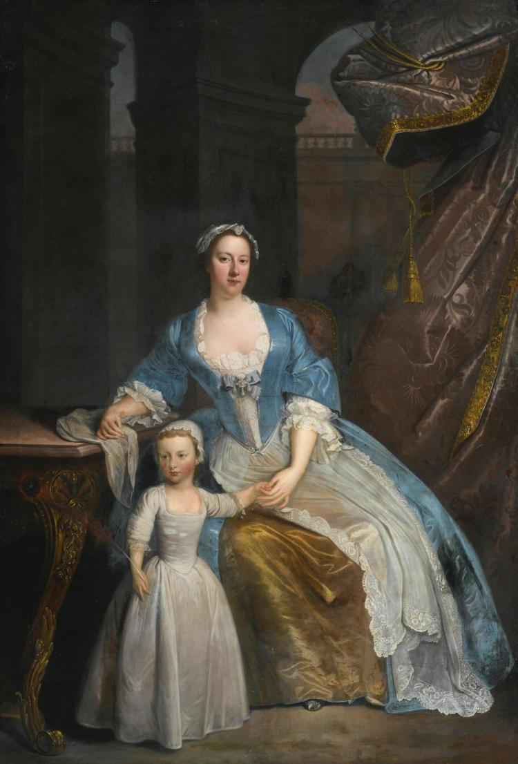 ATTRIBUTED TO WILLIAM VERELST | Portrait of Elizabeth Beckford, full-length, seated in a loggia with her son Peter