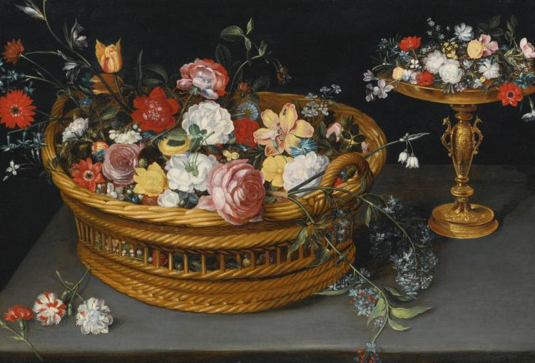 ATTRIBUTED TO PHILIPS DE MARLIER   Still life of flowers in a basket and flowers on a gilt cup, both resting on a ledge