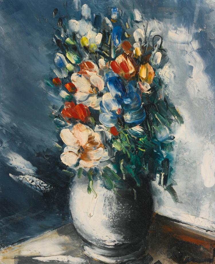 Maurice de vlaminck bouquet de fleurs dans un vase blanc for Bouquet de fleurs wine