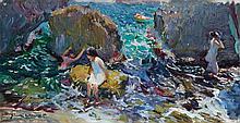 JOAQUÍN SOROLLA | Niños bañandose entre rocas, Jávea (Children on the Shore, Jávea)