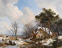 HENDRIK VAN DE SANDE BAKHUYZEN | Skaterson a Frozen Stream on the Outskirts of a Village