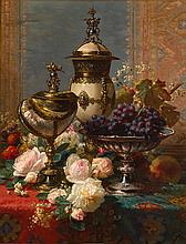 JEAN-BAPTISTE ROBIE | A Still Life with Roses, Grapes, and A Silver Inlaid Nautilus Shell