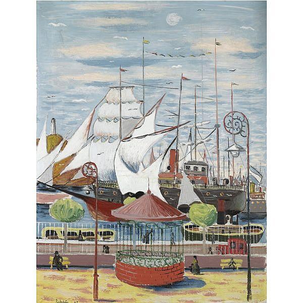 Rafael Zabaleta Quesada, Jaen 1907-1960 , Puerto de Mar, Valencia (The Port, Valencia) oil on canvas