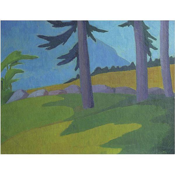 Hans Emmenegger , Swiss 1866-1940   Landscape with Pines oil on canvas
