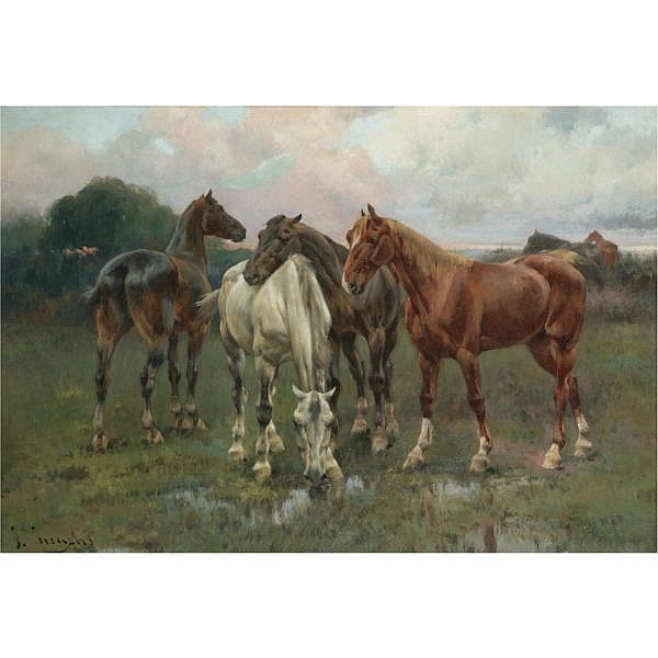 José Cusachs , Spanish Montpellier 1851- Barcelona 1908 Caballos (Horses) oil on canvas