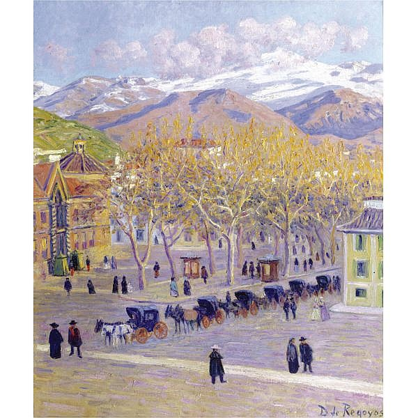 - Darío de Regoyos Ribadesella 1857-Barcelona 1913 , Une place à Grenade   oil on canvas