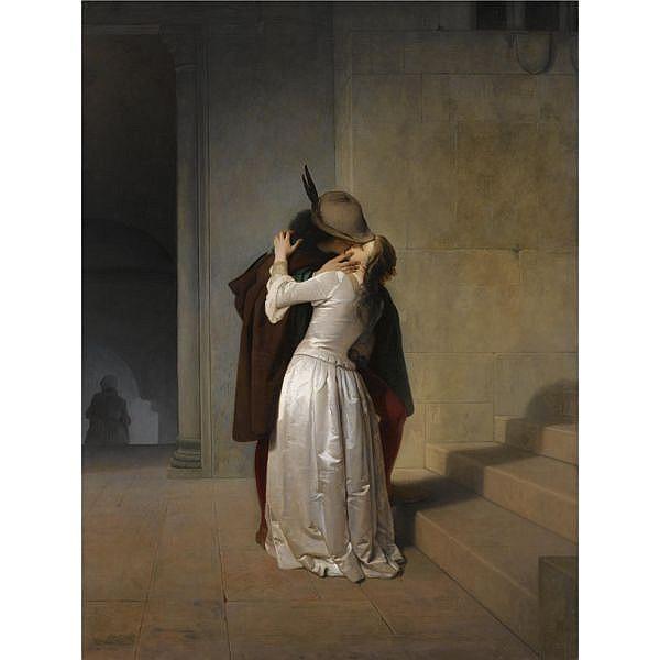 Francesco Hayez , Italian 1791-1881 Il Bacio oil on canvas