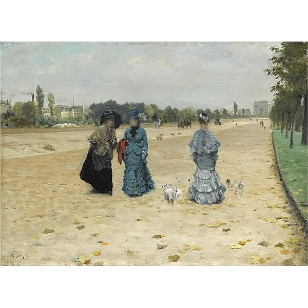 Giuseppe de Nittis , Italian 1846-1884 Avenue du Bois de Boulogne oil on canvas