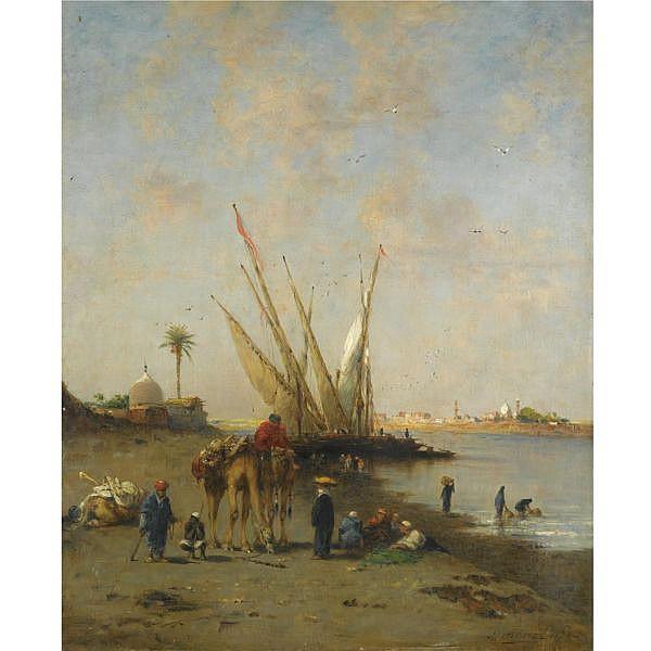 Narcisse Berchère , French 1819-1891 Felouques et chameliers au bord du Nil signed and dated Berchère. 1872. lower right