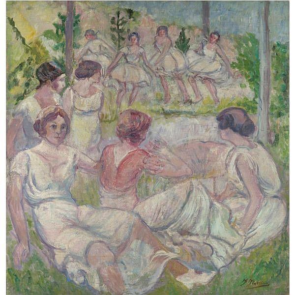 Francisco Iturrino , Santander 1864-Cagnes-sur-Mer 1924 Baile en el Bosque (Dancers in the Forest) oil on canvas