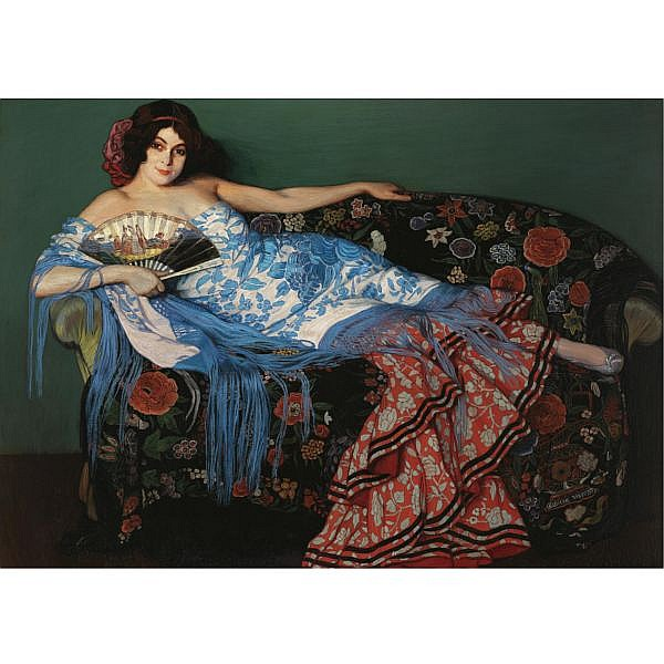 Ignacio Zuloaga , Eibar 1870-Madrid 1945 Lolita, mujer tendida con chal azul (Lolita reclinign in a blue shawl) oil on canvas