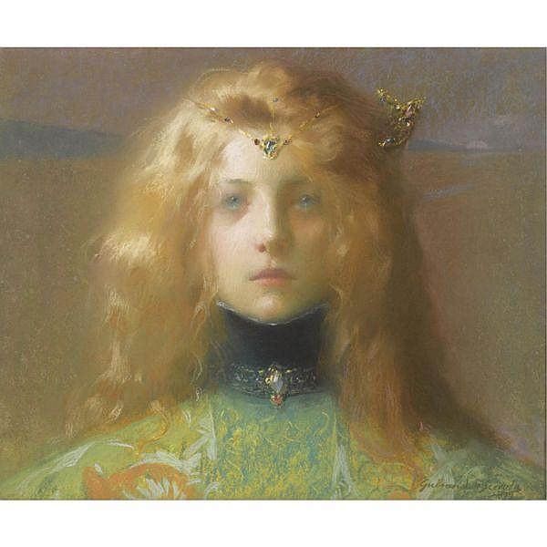 Lucien-Victor Guirand de Scévola , French 1871-1950   jeune fille de face pastel on paper