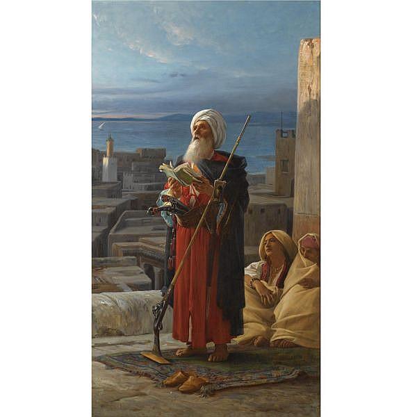 Jean Lecomte du Nouy , French 1842-1929   La priere du soir a Tanger oil on canvas laid down on panel