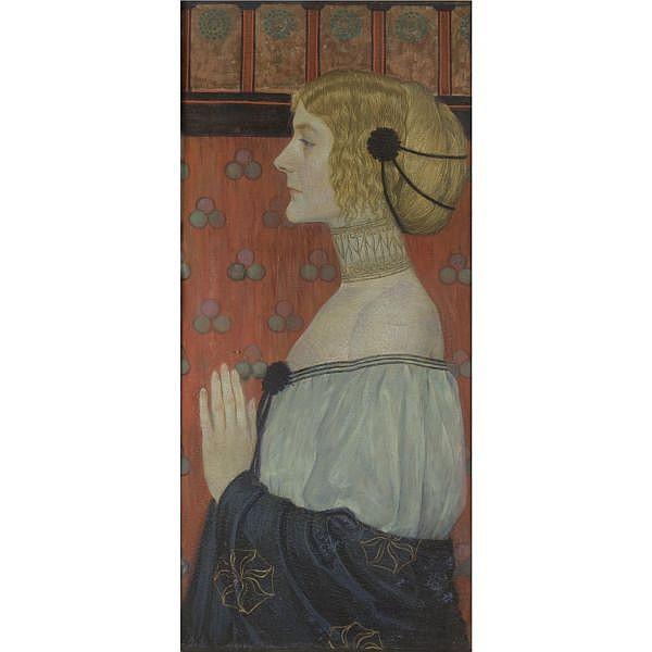- Wilhelm List , Austrian 1864-1918 A Woman in Profile oil on canvas