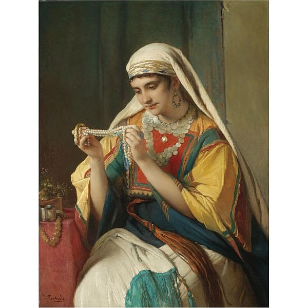 Jean François Portaels , Belgian 1818-1895 The Pearl Necklace oil on canvas