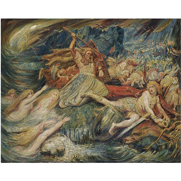 Henri Degroux , French 1867-1930 la mort de siegfried oil on canvas